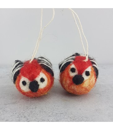 set of two felted christmas tree decorations striped little birds