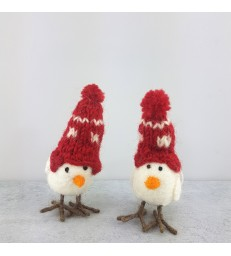 Set of 2 Hen Beanie Christmas Pendants