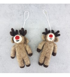 Set of 2 Felt Rudolf Reindeer Christmas Tree Decorations
