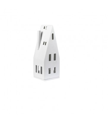 white tea light house with pitched roof christmas lighting