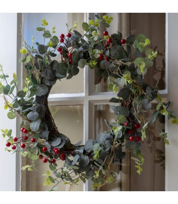 40cm Red Berry and Eucalyptus Christmas Wreath