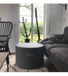 Grey Round Wool Pouffe - Large