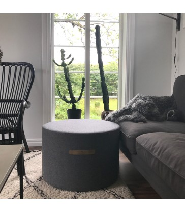 lightweight seating for your home grey wool pouffe in two sizes