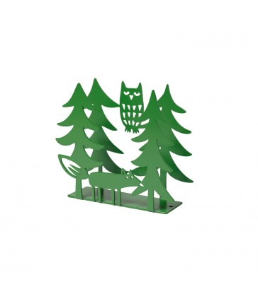 Fox and Owl Green Napkin Holder