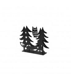 Fox and Owl Black Napkin Holder