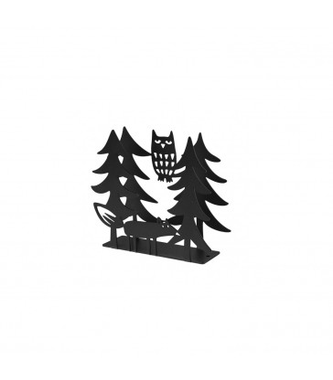 Fox and Owl Black Napkin Holder