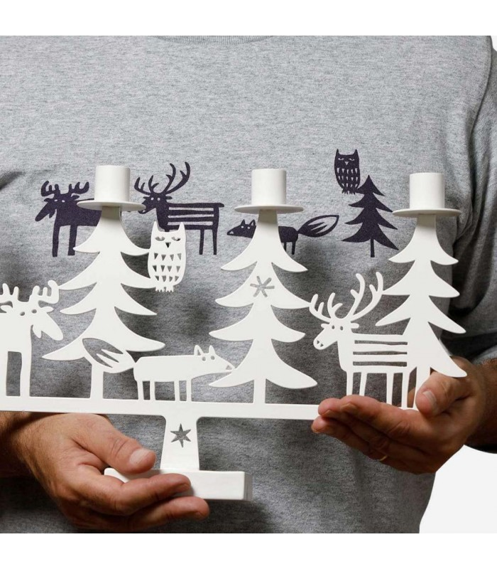 White Christmas Forest Candlestick Holder