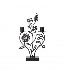 Flower Meadow Black Candlestick Holder