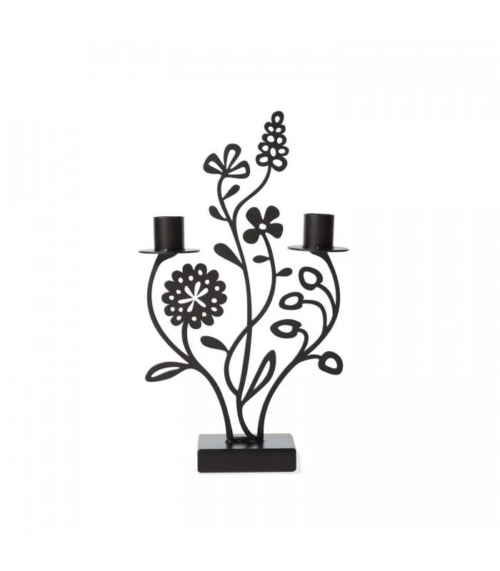 Flower Meadow Black Candlestick Holder