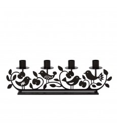 Apple & Birds Black Candlestick Holder