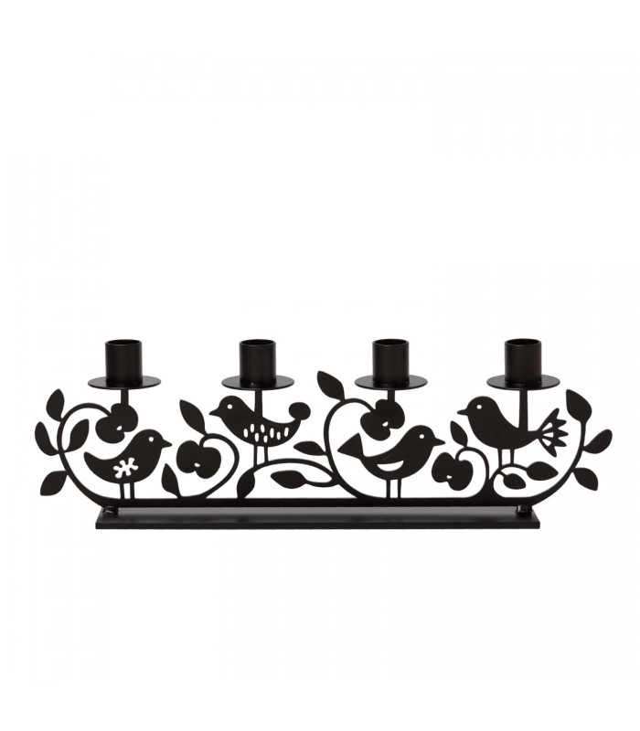 Apple & Birds Black Candlestick Holder - 4 dinner candles