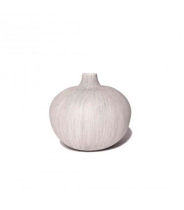 Round Grey Stripe Ceramic Vase
