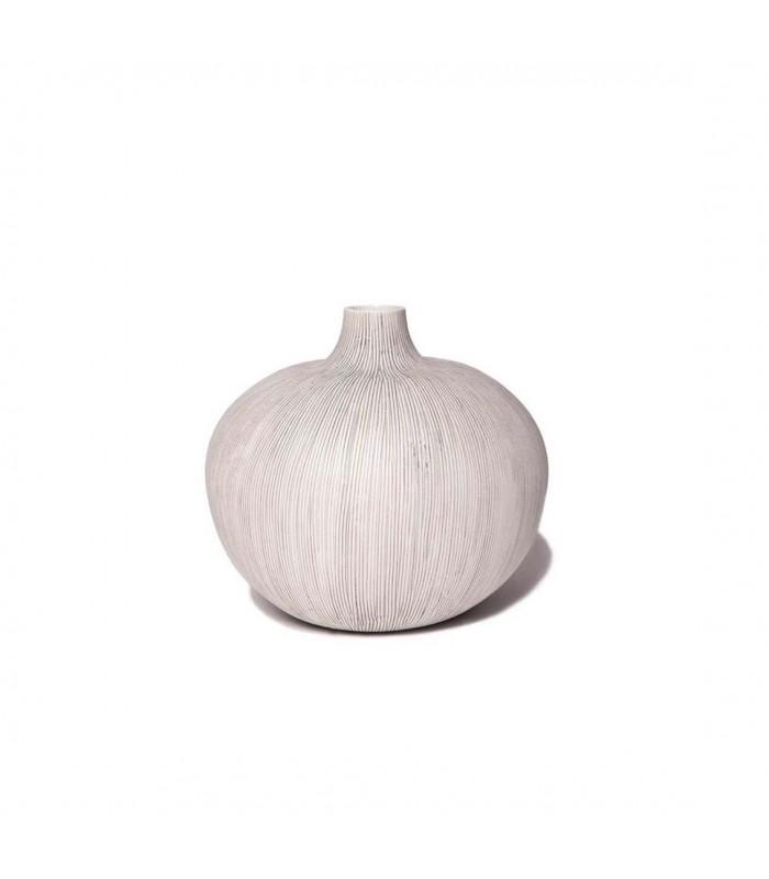 Round Grey Stripe Ceramic Vase