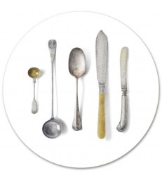 Placemat Round Cutlery White