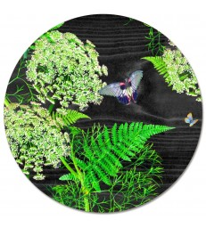 Placemat Round Black Dill