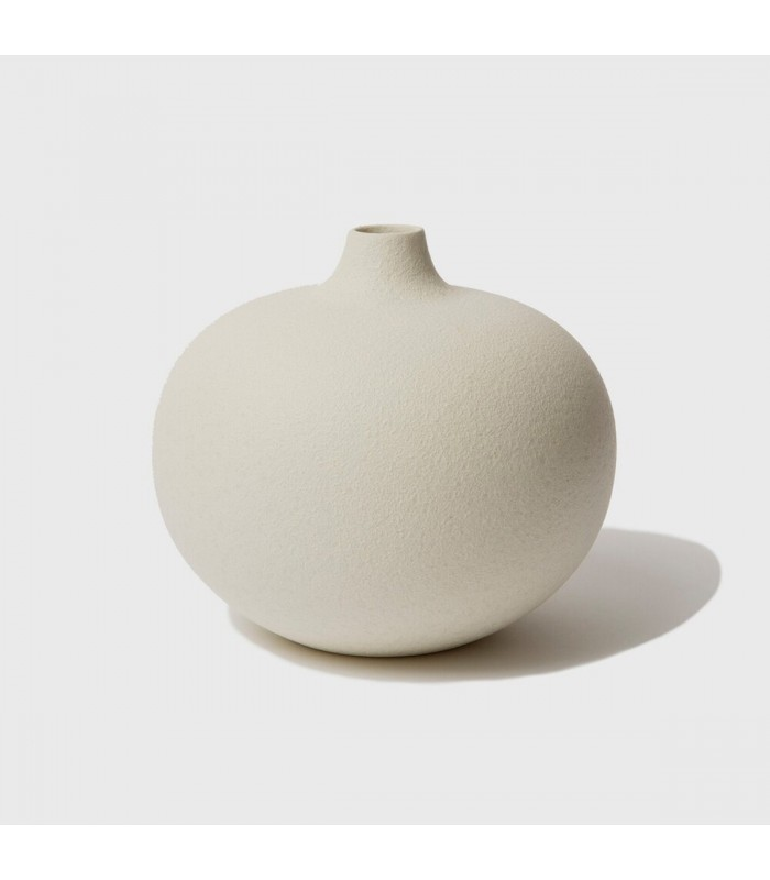Cream/White Round Ceramic Vase