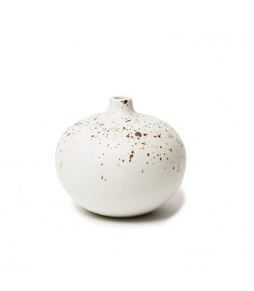 Small White Speckled Round Ceramic Vase