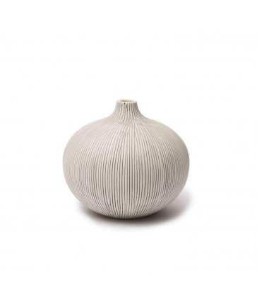 Small Grey Stripe Round Ceramic Vase