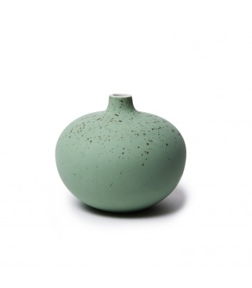 Small Green Speckled Round Ceramic Vase