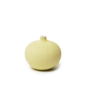 Small Yellow Round Ceramic Vase