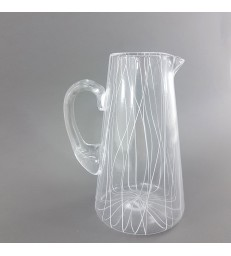 Glass Pouring Jug - White Lines