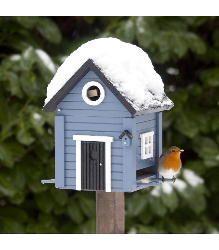 Solid Blue Cottage Bird Feeder & Nesting Box