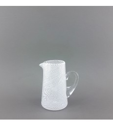 Small glass pouring jug with white stripes