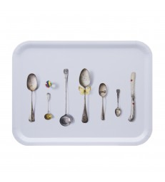 Blue Rectangular Cutlery Birch Tray