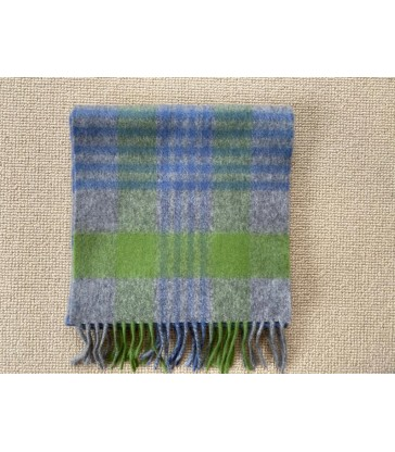 Wool Cashmere Scarf -  Blue Green check  - 24 x200cm