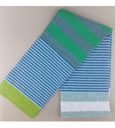 Green & Blue Striped Lambswool Scarf