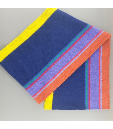 Dark Blue Colourful Striped  Lambswool Scarf