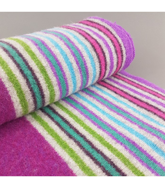 Purple Striped  Lambswool Scarf