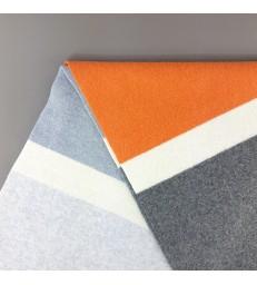 Large Grey and Orange Wool Scarf