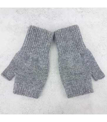 grey fingerless gloves made in scotland