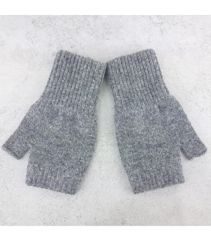 grey fingerless gloves made in scotland