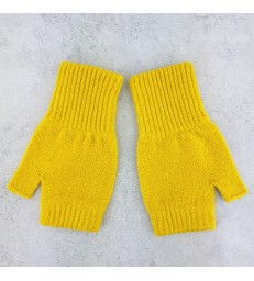 Yellow Lambswool Fingerless Mittens