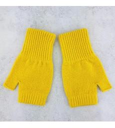 Yellow Lambswool Fingerless Mittens
