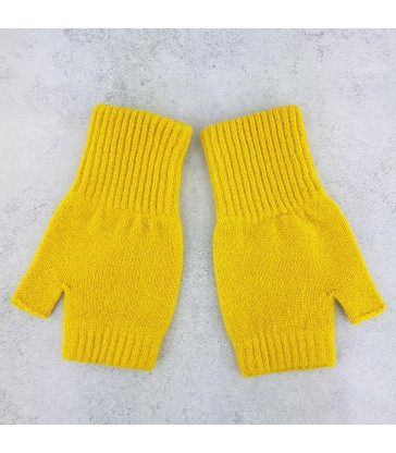 yellow wool fingerless mittens