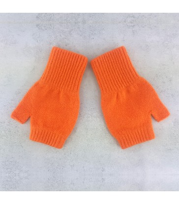 Orange Lambswool Fingerless Mittens