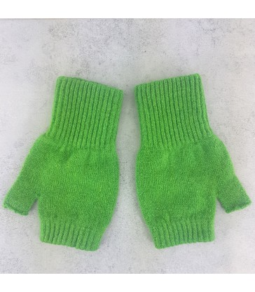 Mint Green Lambswool Fingerless Mittens