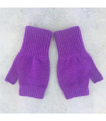 Purple Lambswool Fingerless Mittens