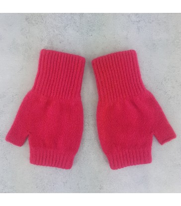 Candy Pink Lambswool Fingerless Mittens