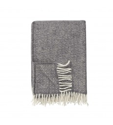 CHEVRON Dark Grey Wool Throw