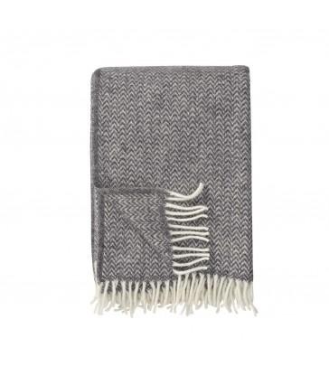CHEVRON Dark Grey Wool Throw from Klippan