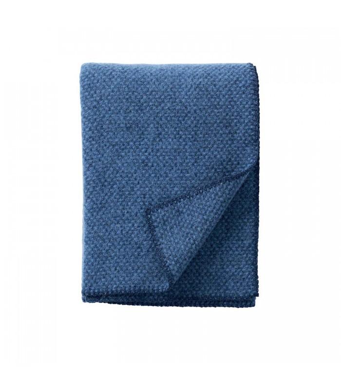detail of the petrol blue wool throw from klippan