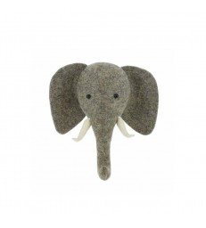 Felt Elephant Head with Trunk Up