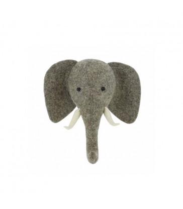 Felt Elephant Head with Trunk Up