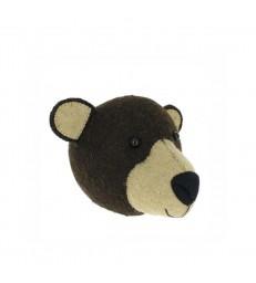 Mini Felt Brown Bear Head