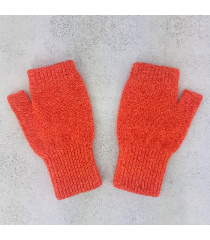 Orange Lambswool Fingerless Mittens