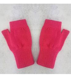 Hot Pink Lambswool Fingerless Mittens